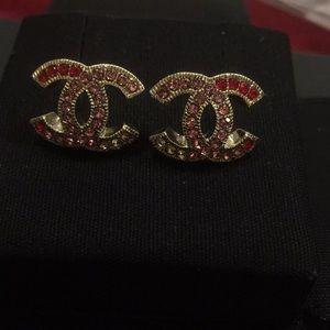 CHANEL Jewelry - Silver Jewel Encrusted Chanel Earrings